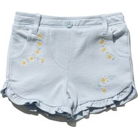 Baby girl 100% cotton jersey light blue pocket detail frill hem daisy embroidered shorts  - Light Bl