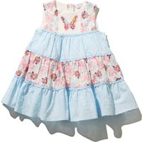 Baby girl cotton rich sleeveless butterfly print dobby textured sequin butterfly tiered dress  - Lig