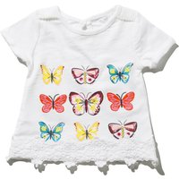 Baby girl cotton rich white short sleeve repeat butterfly print keyhole back crochet hem t-shirt  -