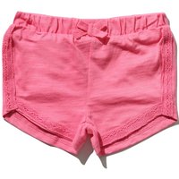 Baby girl 100% cotton plain pink lace trim elasticated waistband back pocket detail shorts  - Pink