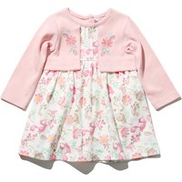 Newborn girl 100% cotton pink long sleeve mock cardigan woodland animal print embroidered dress  - Light Pink