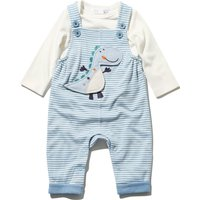 Baby Boys Long Sleeve Plain Top And Blue Stripe Dinosaur Applique Dungarees Outfit Set  - Light Blue