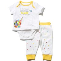 Elmer The Elephant unisex baby character print short sleeve bodysuit and cuffed ankle jogger set  -