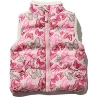 Baby girl pink sleeveless butterfly print borg lined zip through funnel neck gilet  - Pink