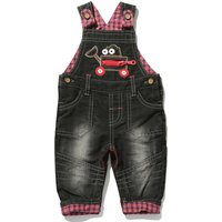 Baby boy cotton rich dark wash truck applique red check trim button fastening dungarees  - Denim