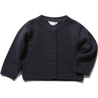 Baby girl long sleeve textured finish button through knitted cardigan  - Navy