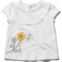 Baby girl 100% cotton white short sleeve flower applique frill front keyhole fastening top  - White