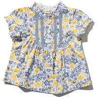 Baby girl 100% cotton blue and yellow short sleeve lace front yoke floral bird print frill trim top