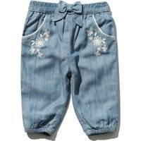 Baby girl cotton rich blue tencel floral embroidery bow applique cuffed ankle stretch waist trouser