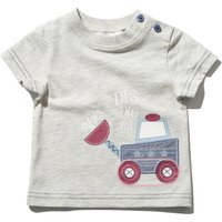 Baby boy cotton rich short sleeve light grey digger applique side neck button t-shirt  - Light Grey