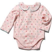 Newborn girl 100% cotton long sleeve pink heart print peter pan collar bodysuit  - Pink