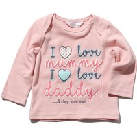 Newborn girl 100% cotton long sleeve envelope neck mummy and daddy slogan print t-shirt  - Pink