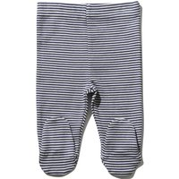Newborn boy 100% cotton navy and white stripe pattern integral feet stretch waist jogger  - Navy