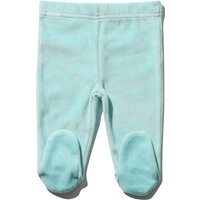 Newborn boy cotton rich velour blue elasticated waistband integral feet joggers  - Blue