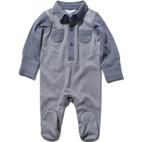 Newborn boy 100% cotton long sleeve stripe pattern integral feet polo shirt sleepsuit  - Navy