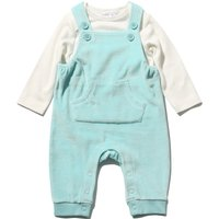 Newborn boy cotton rich white long sleeve envelope neck top and Blue velour dungaree set  - Blue