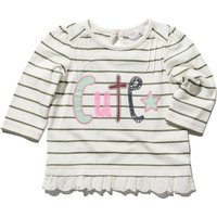 Baby girl 100% cotton long sleeve stripe pattern cute slogan broderie anglaise hem top  - Cream