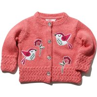 Baby girl pink long sleeve floral bird applique gem flower button zigzag trim knitted cardigan  - Pink