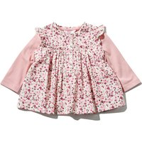 Baby girl 100% cotton pink long sleeve top and floral print blouse two piece set  - Pink