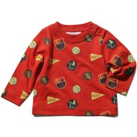 Baby boy 100% cotton red long sleeve side neck button badge print t-shirt  - Tangerine