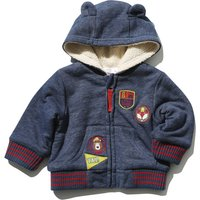Baby boy cotton rich navy long sleeve badge 3D bear ear hooded fleece lined zip through sweater  - N