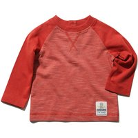 Baby boy 100% cotton long raglan sleeve rust stripe pattern button back fastening top  - Rust