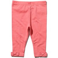 Newborn girl cotton rich stretch fabric Pink full length bow hem applique legging  - Pink