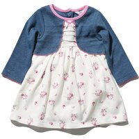 Baby girl 100% cotton long sleeve blue mock cardigan floral print pintuck integral bodysuit dress  -