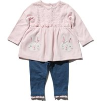 Newborn girl cotton rich long sleeve bunny broderie anglaise top and frill chambray leggings set  -