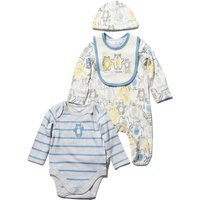 Newborn boy 100% cotton bear print four piece starter bodysuit sleepsuit bit and hat set  - White