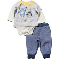 Newborn boy cotton rich long sleeve animal print t-shirt bodysuit and stretch waist cuffed joggers