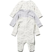 Newborn unisex 100% cotton long sleeve popper fasten plain and elephant print sleepsuits three pack