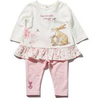 Guess How Much I Love You baby girl long sleeve frill hem top and pink leggings set  - Cream