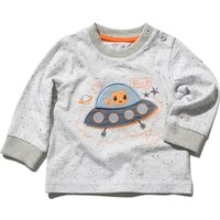 Baby boy cotton rich light grey long sleeve ribbed trim spaceship applique t-shirt  - Light Grey