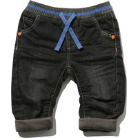Baby Boy Cotton Rich Black Wash Elasticated Rib Waistband Pocket Turn Up Jeans - Black