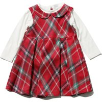 Baby girl red tartan fit & flare peter pan collar pleated dress & white long sleeve top set  - Red