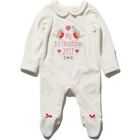 Newborn girl cotton rich white velour first christmas slogan bow integral feet sleepsuit  - White