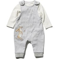 Guess How Much I Love You newborn unisex long sleeve top and grey cuffed dungarees set  - Grey Marl