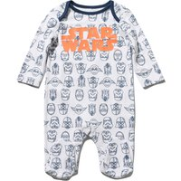 Star Wars newborn boy 100% cotton white and navy long sleeve logo print integral feet sleepsuit  - W