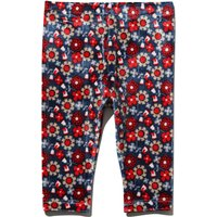 Baby girl soft stretch velour navy and red floral print elasticated waistband full length leggings