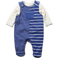 Newborn boy cotton rich sleeveless blue stripe dungarees & white long sleeve envelope neck top set
