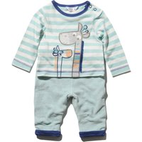 Newborn boy long sleeve giraffe applique stripe top and cord joggers set  - Blue