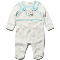 Newborn boy velour white Blue long sleeve stork mock dungarees integral feet sleepsuit  - White