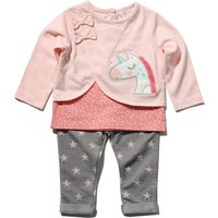 Baby girl cotton rich long sleeve mock layer unicorn applique top and star print jegging outfit set