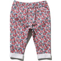 Baby girl cotton stretch red & navy floral print elasticated waistband turn up jeggings  - Navy