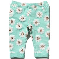 Baby girl green cotton stretch daisy floral print elasticated waist turn up jeggings G - Green