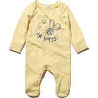Newborn baby girl cotton rich yellow long sleeve bee slogan print integral feet sleepsuit  - Yellow