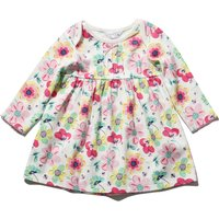Newborn baby girl cotton long sleeve envelope neck floral print fit and flare dress  - Pink