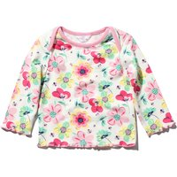 Newborn baby girl long sleeve cotton envelope neck floral print frill trim t-shirt  - White