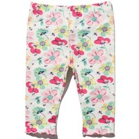 Newborn baby girl cotton floral print stretch wait frill trim leggings  - Pink